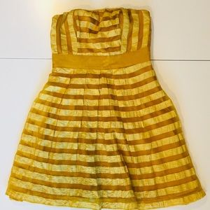 The Limited Golden Striped Strapless Formal Dress